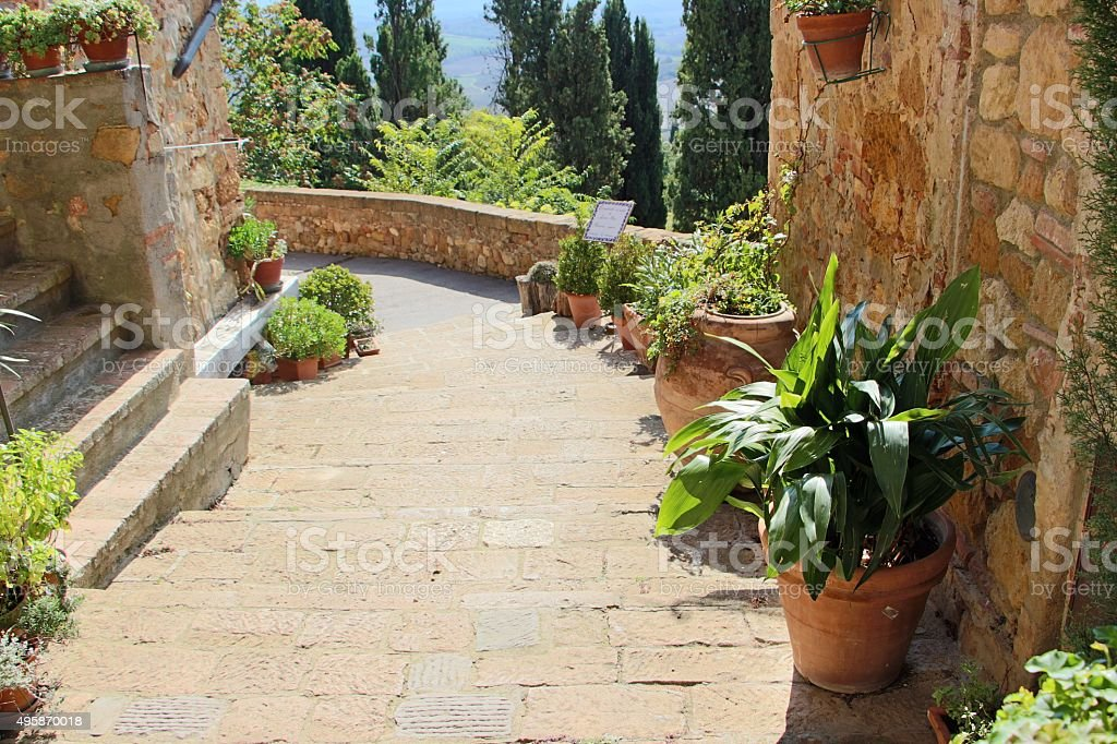 pienza - little street in the old town stock photo