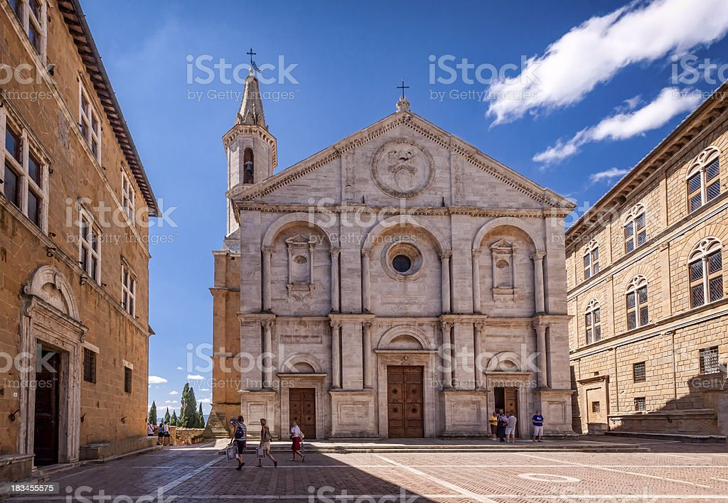 Pienza square of cathedral Tuscany, Italy. stock photo