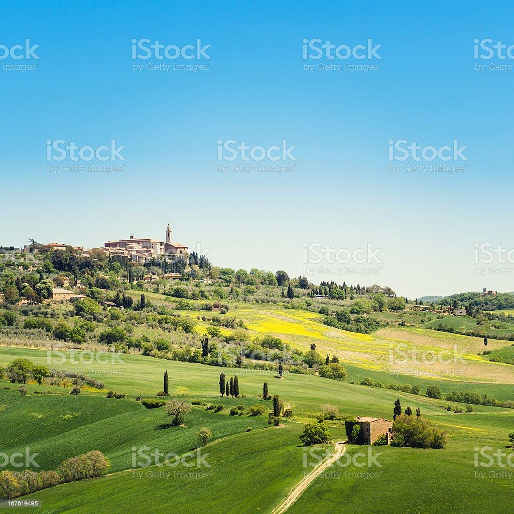 Pienza town on spring landscape stock photo