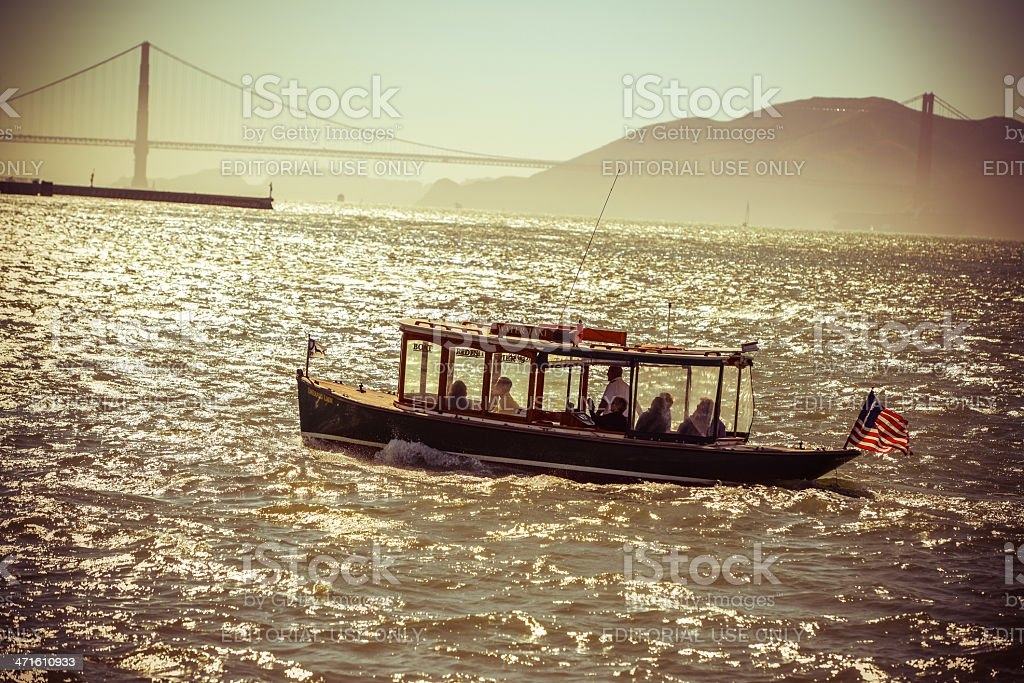 Pier 39 Water Taxi and Golden Gate Bridge, San Francisco royalty-free stock photo
