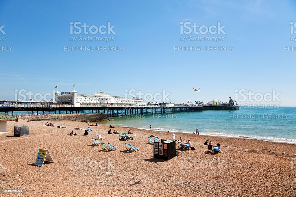 Pier and Beach at Brighton, England stock photo