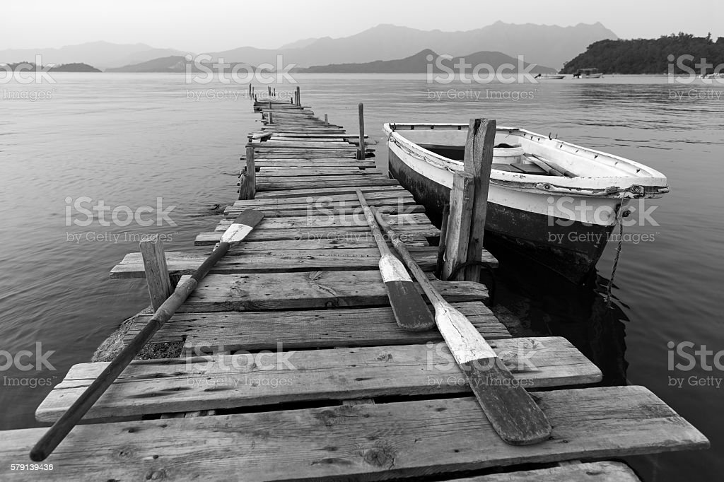 Pier and Boat stock photo