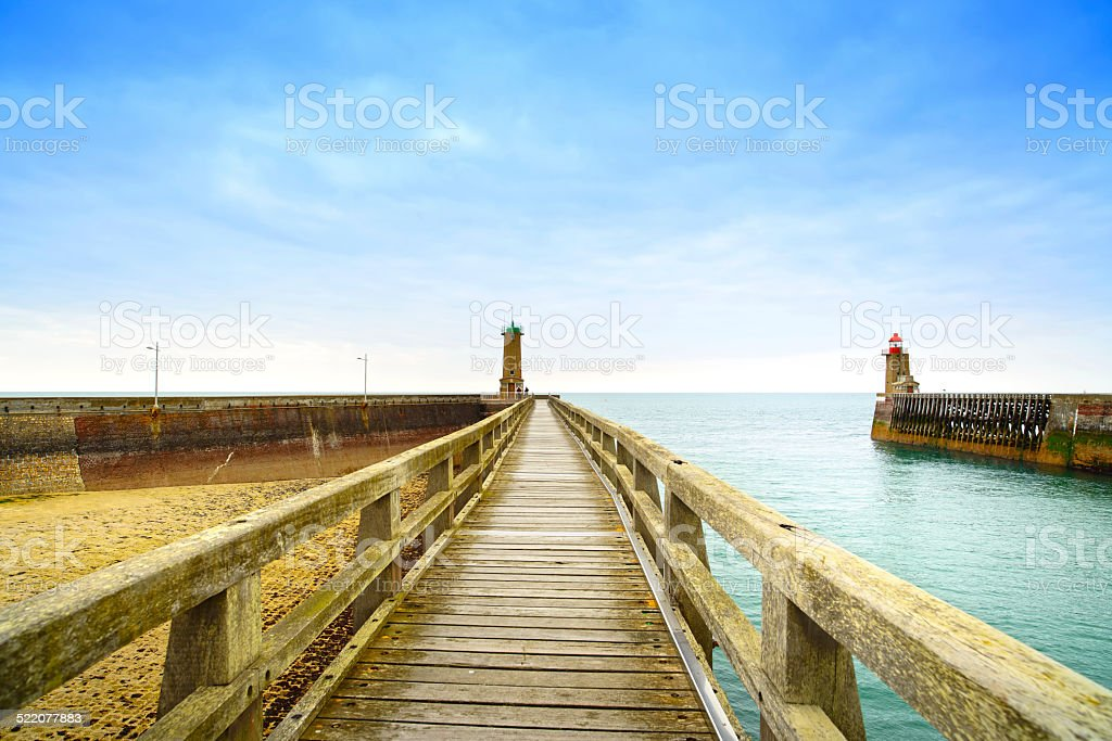 Pier and lighthouse, Fecamp harbor. Normandy France. stock photo
