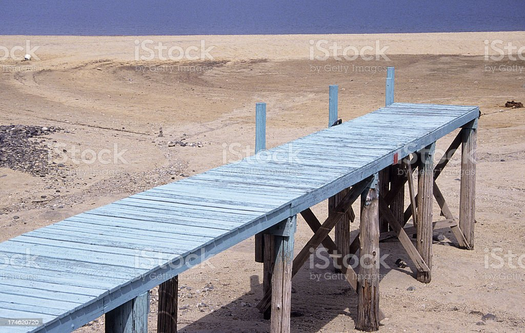 Pier and low water stock photo