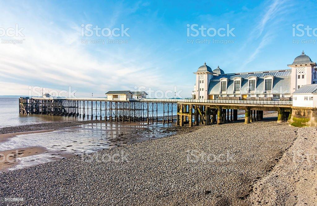 Pier and Pebble Beach stock photo