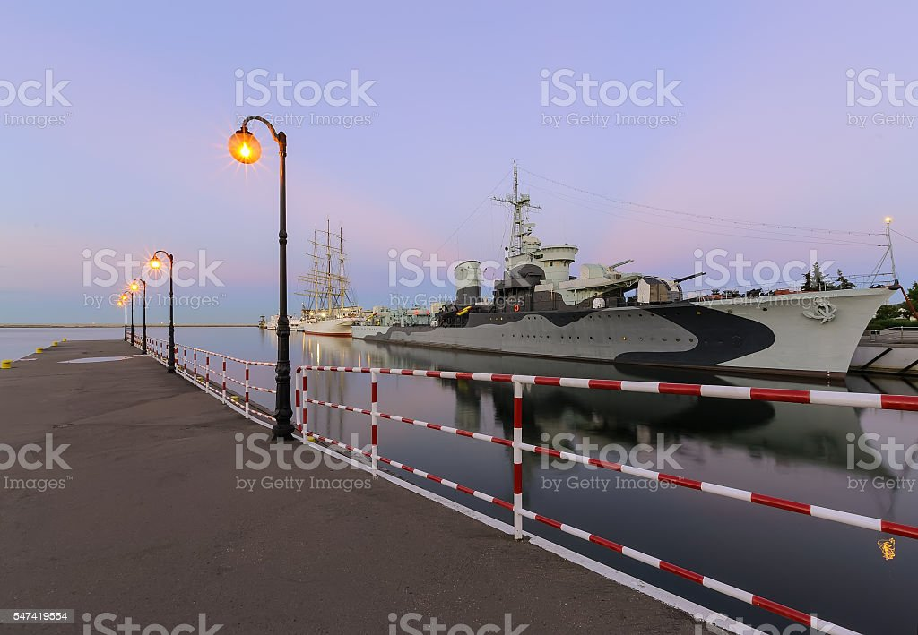 Pier and ships in Gdynia at sunset, Poland. stock photo