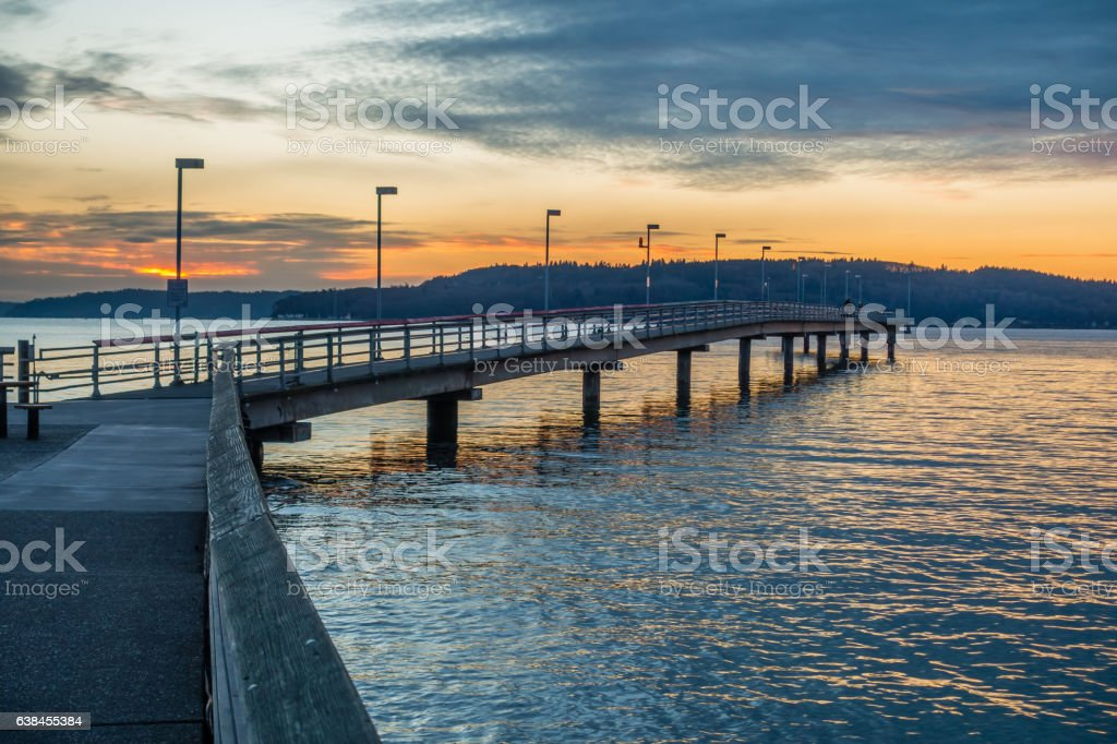 Pier And Sunset stock photo