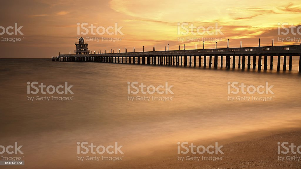 Pier and wave movement royalty-free stock photo