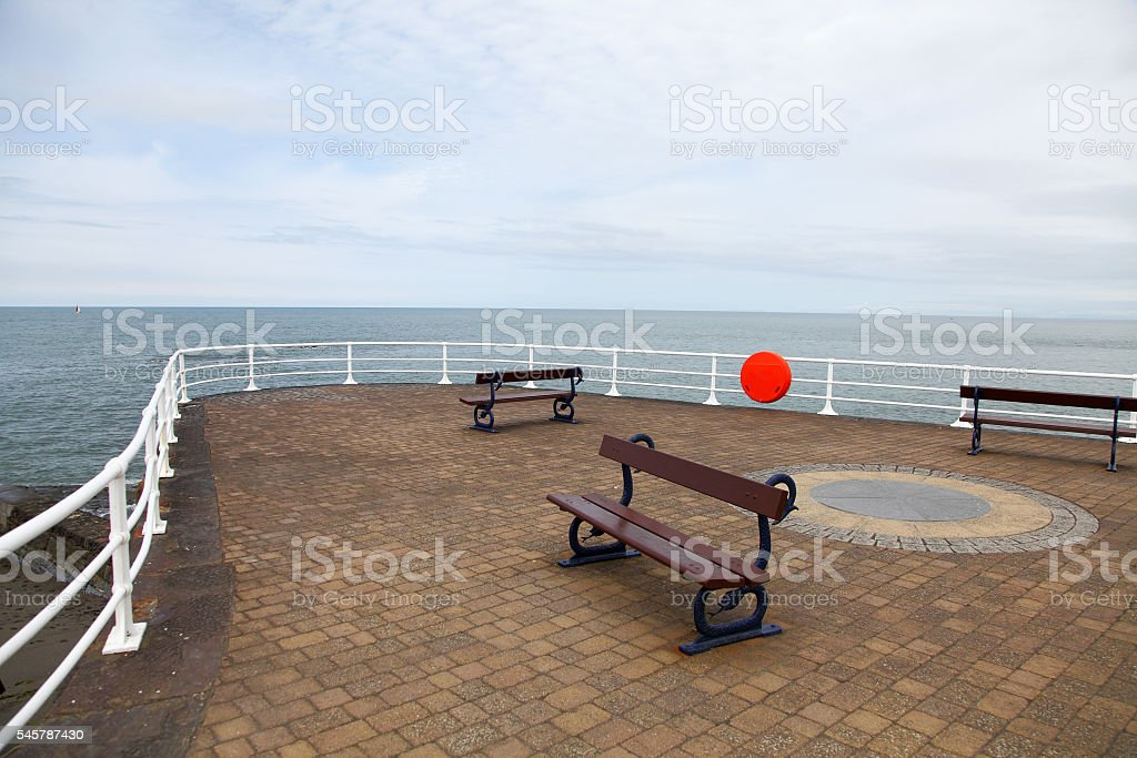 Pier at Aberystwyth,Wales looking out onto Cardigan Bay stock photo