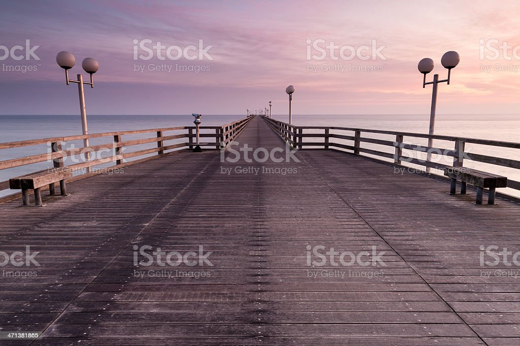 Pier at dawn. Binz, Ruegen, Germany stock photo