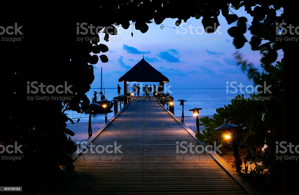 Pier at dusk royalty-free stock photo