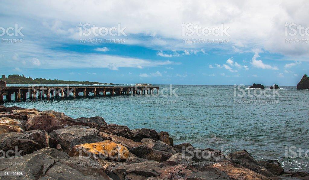 Pier at Hana Bay, Maui stock photo