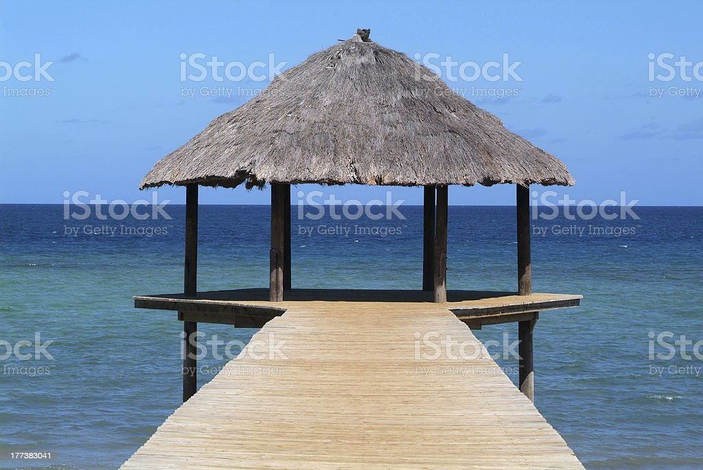 Pier at Mayotte island on the Comoros stock photo