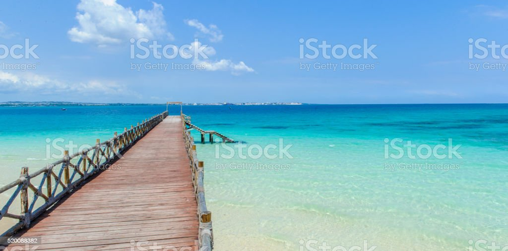 Pier at Prison Island in Zanzibar stock photo