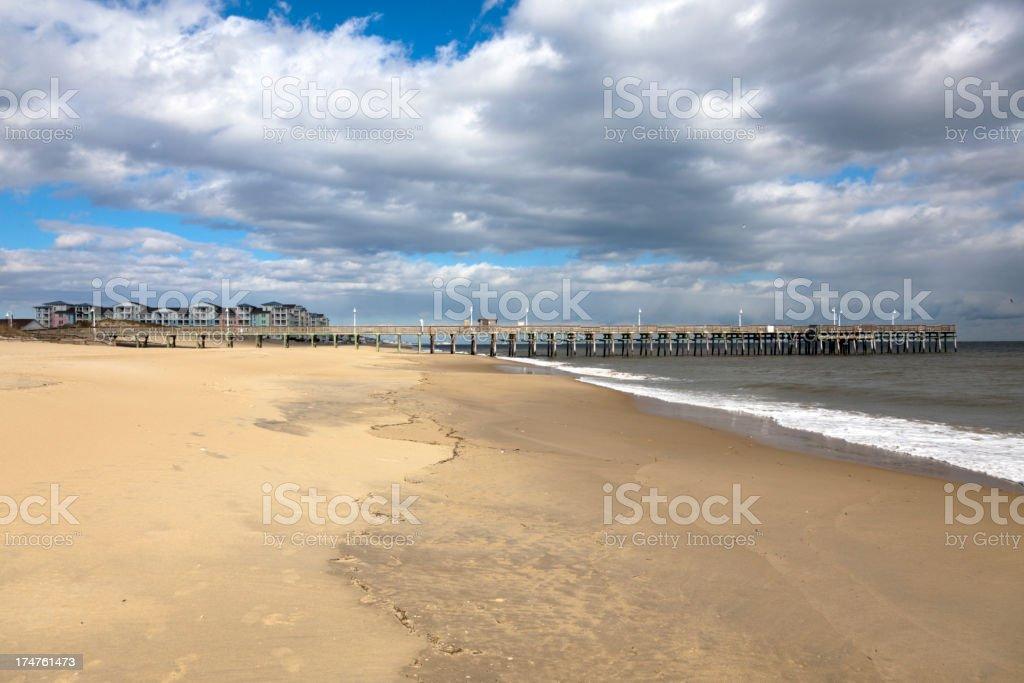 Pier at Sandbridge stock photo