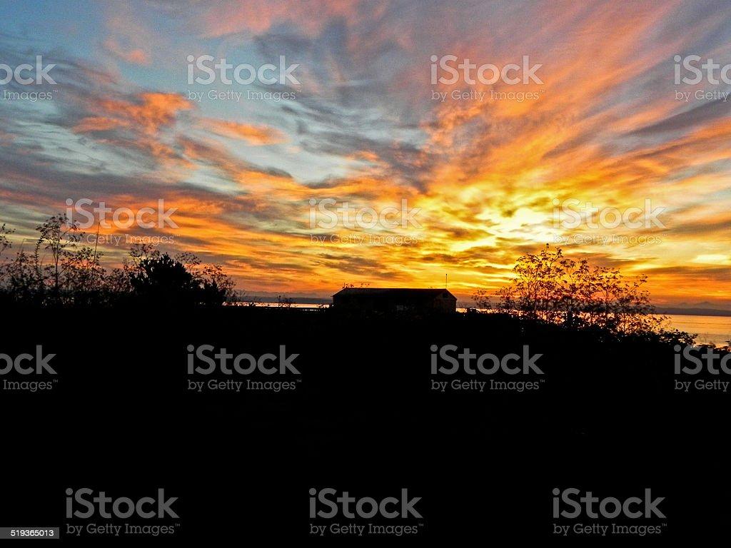 Пристань на рассвете-Пьюджет-Саунд Стоковые фото Стоковая фотография