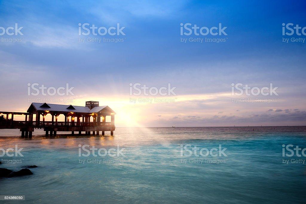 Pier at sunset, Key West stock photo