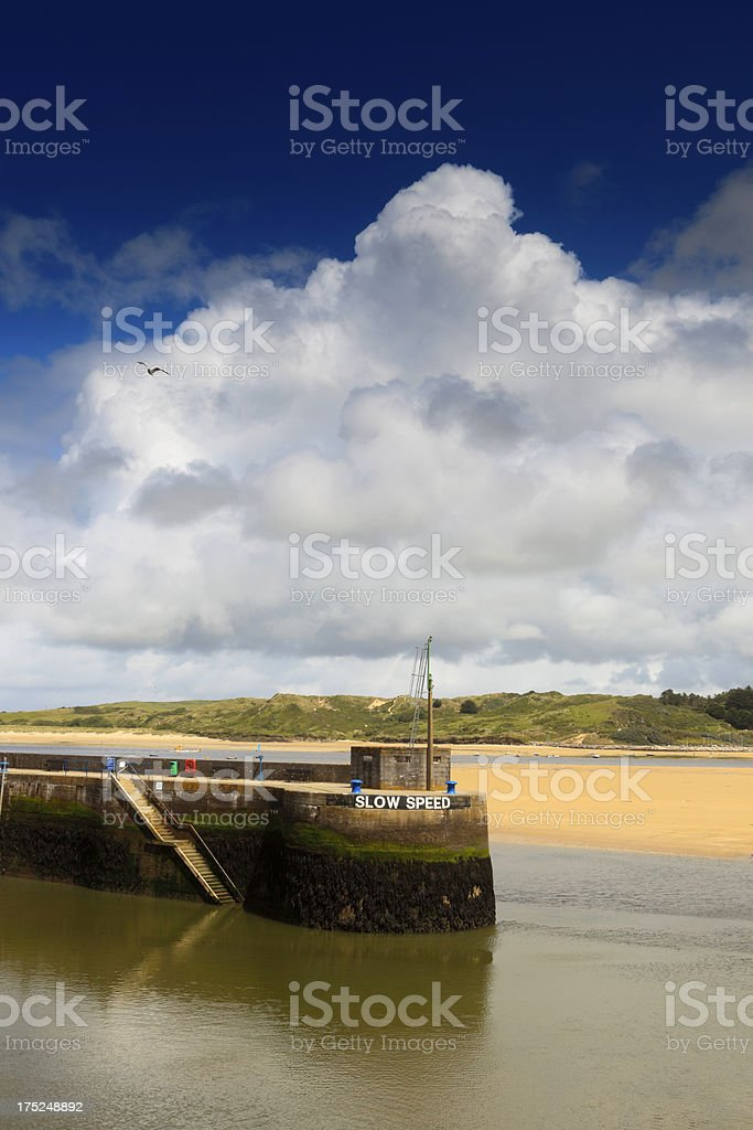 pier at the entrance of Padstow's harbour royalty-free stock photo