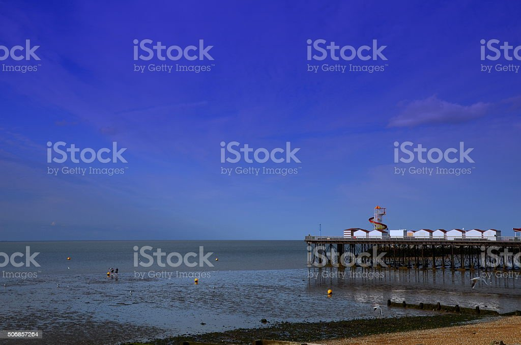 Pier at the seaside stock photo