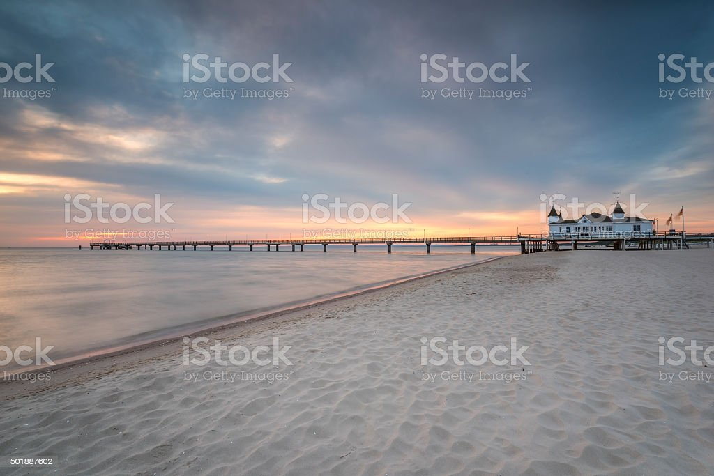 Pier before dawn, Baltic Sea, Ahlbeck (Heringsdorf) Germany stock photo