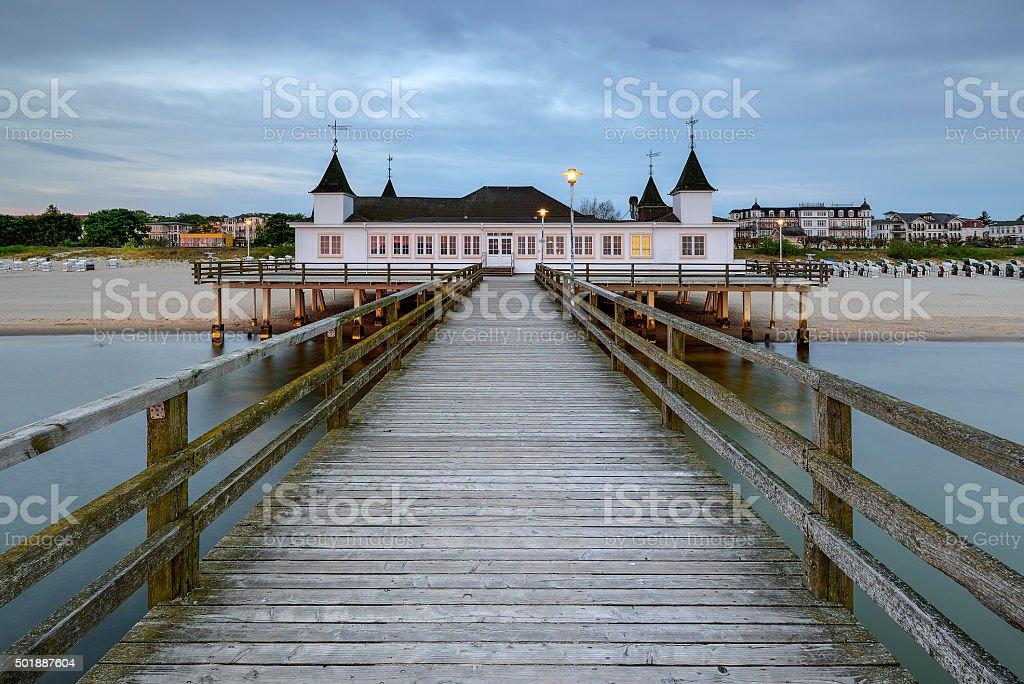 Pier before dawn, Baltic Sea, Ahlbeck (Heringsdorf) Germany stock photo