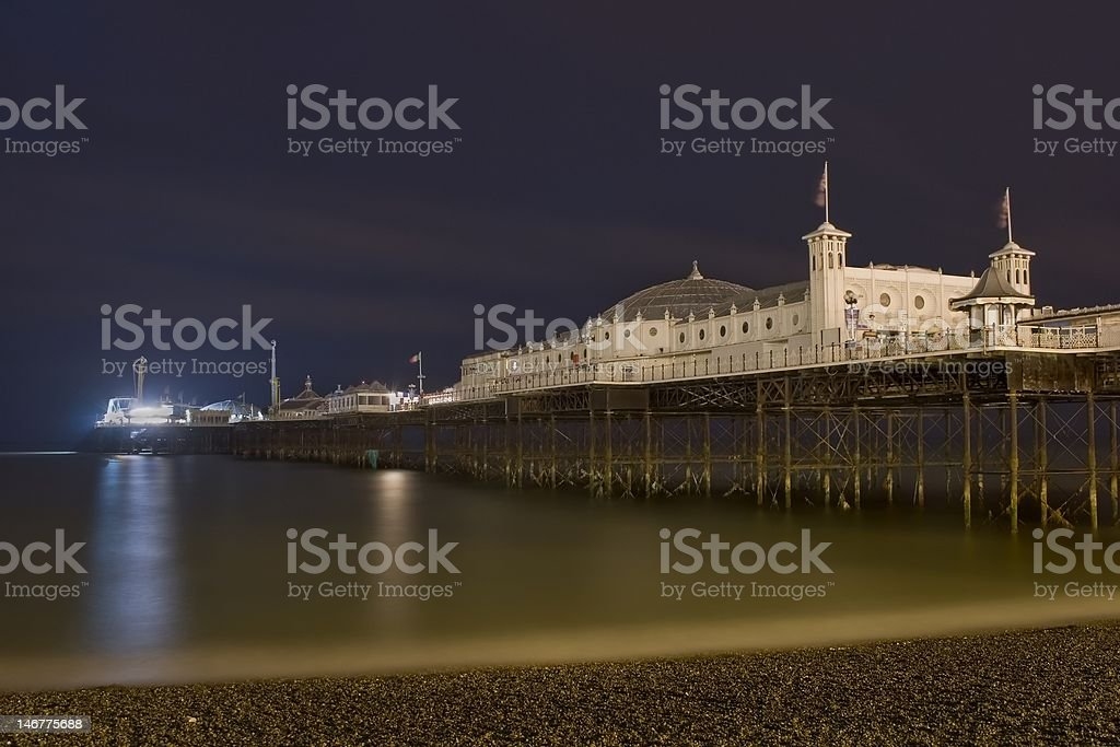 Pier by night stock photo