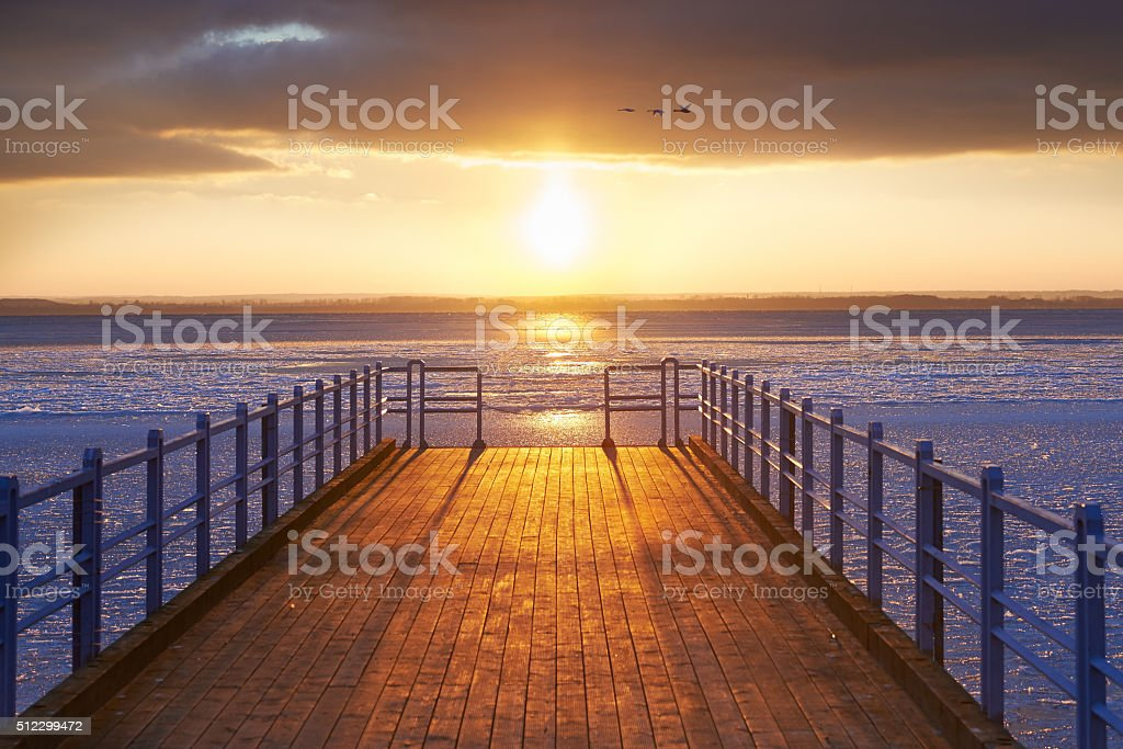 Pier by the Baltic Sea stock photo
