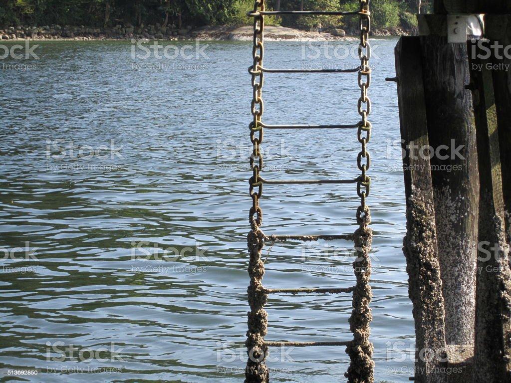 Pier chain ladder stock photo