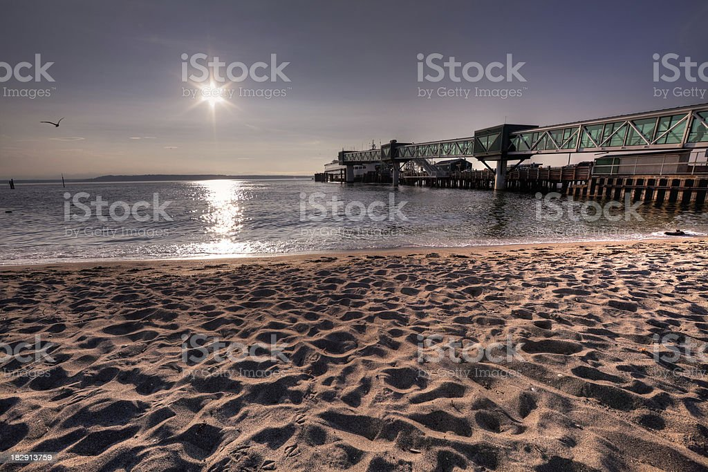 Pier, Ferry, and Beach stock photo