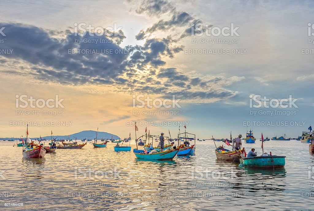Pier fishing at Mui Ne beach in the morning stock photo