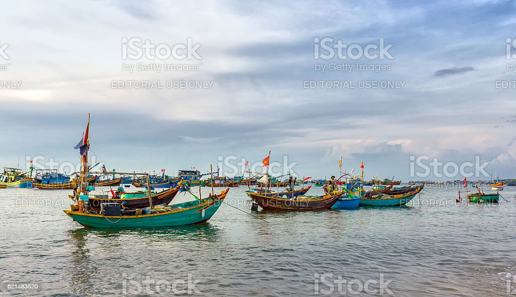 Pier fishing at Mui Ne beach stock photo