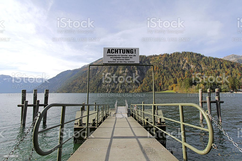 Pier for boat trips on Achensee Lake in Tirol, Austria stock photo