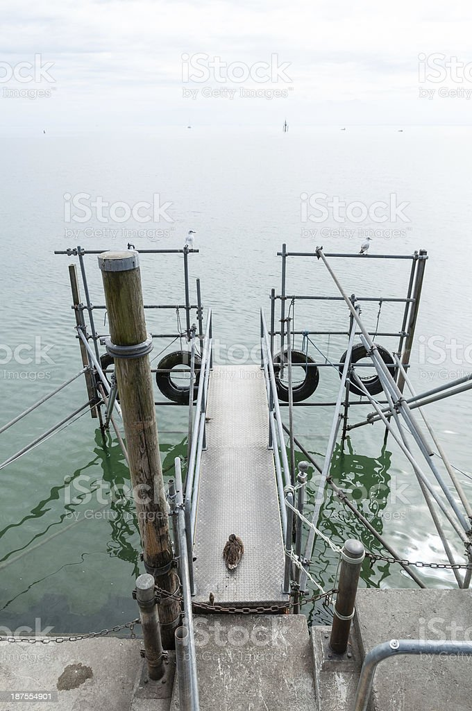 Pier for boats, Friedrichshafen on Lake Constance, Southern Germ stock photo