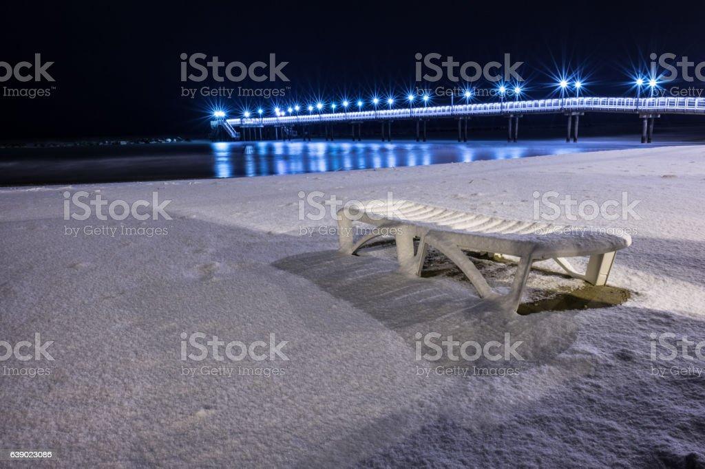 Pier Francavilla al Mare blanketed in snow stock photo