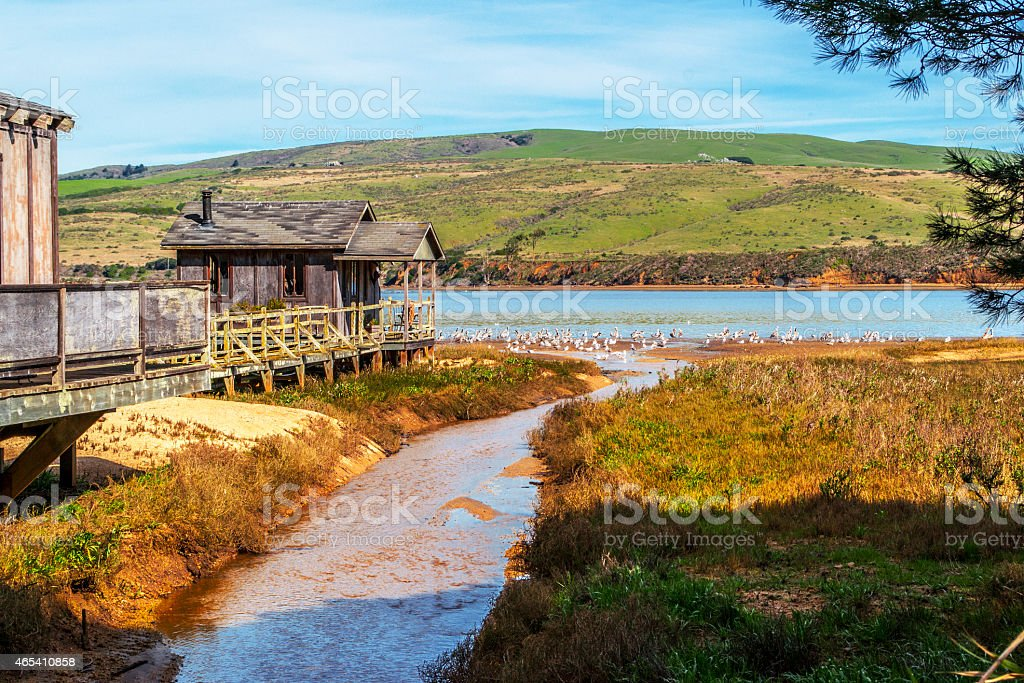 Pier House on Bay in Northern California stock photo