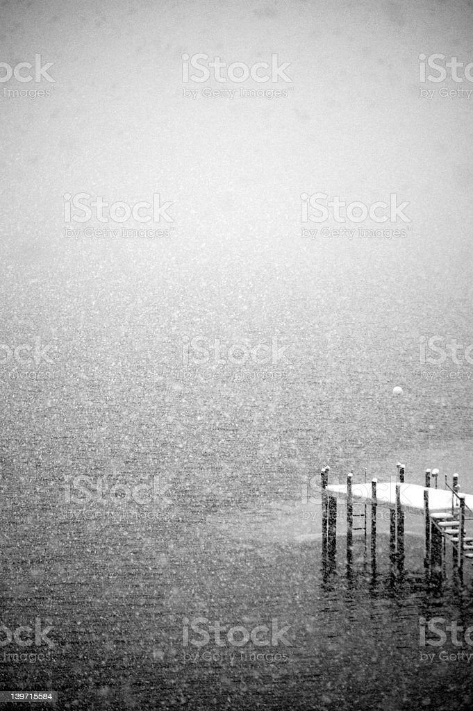 Pier in a Blizzard royalty-free stock photo