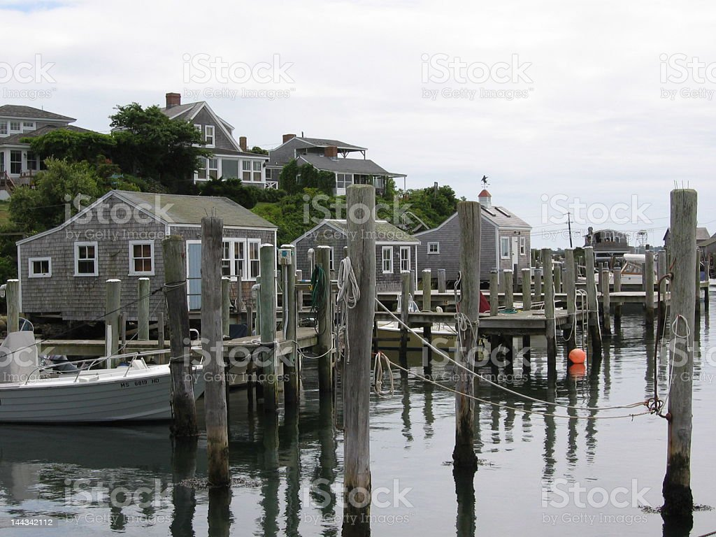 Pier in a fishing village stock photo