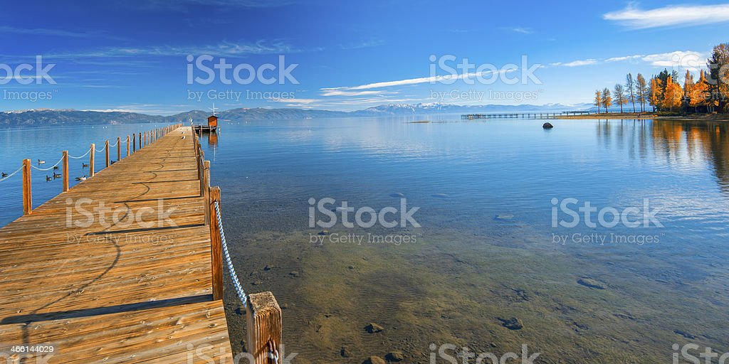 Pier in a lake stock photo
