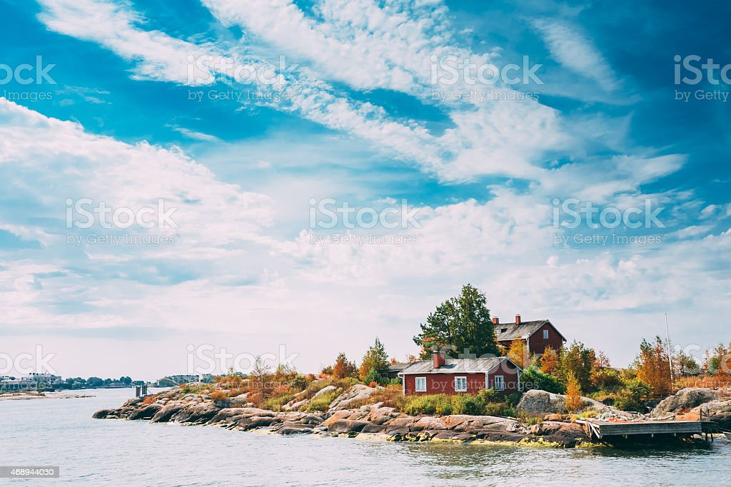 A pier in an island near Helsinki, Finland on a sunny day stock photo
