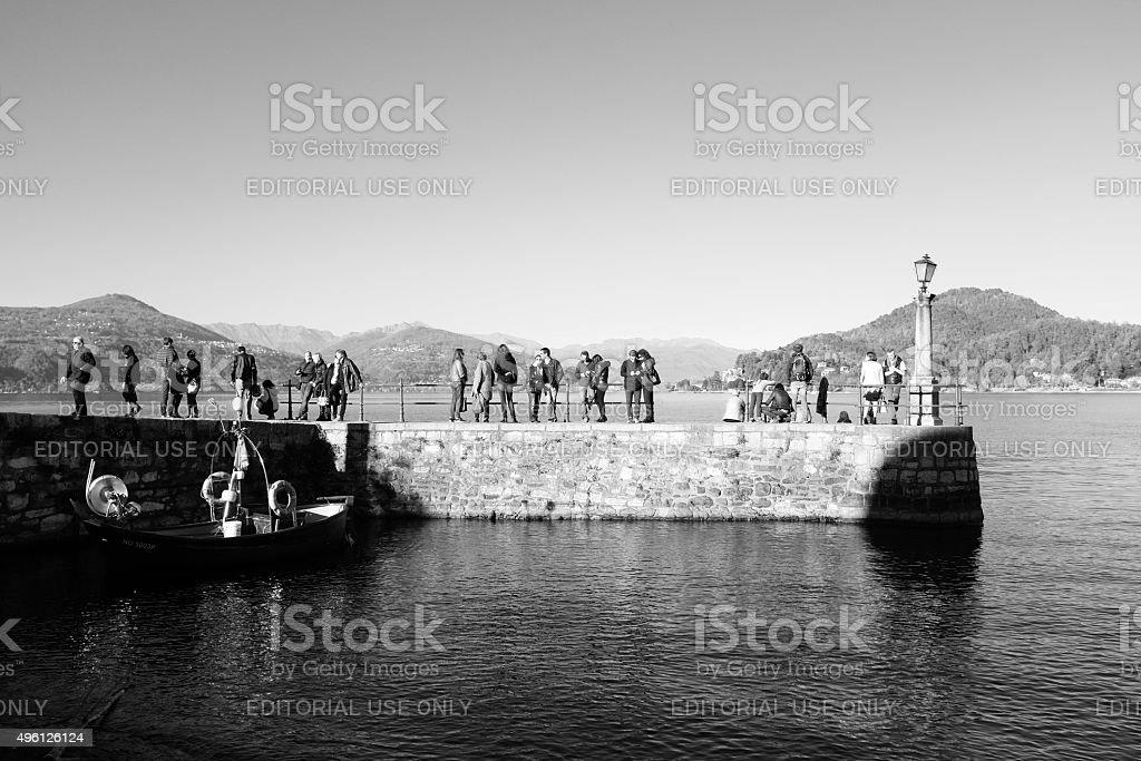 Pier in Arona. Black and White stock photo