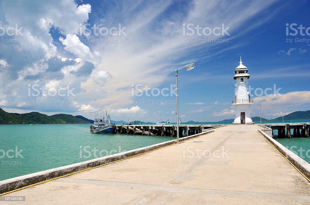 Pier in Bangbao (Koh Chang) stock photo
