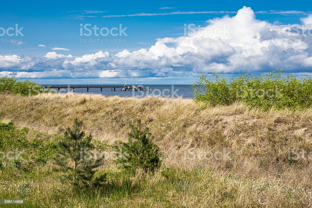 Pier in Bansin on the island Usedom stock photo