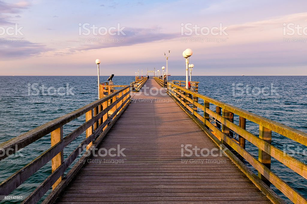 Pier in Binz, Ruegen Island, Germany stock photo