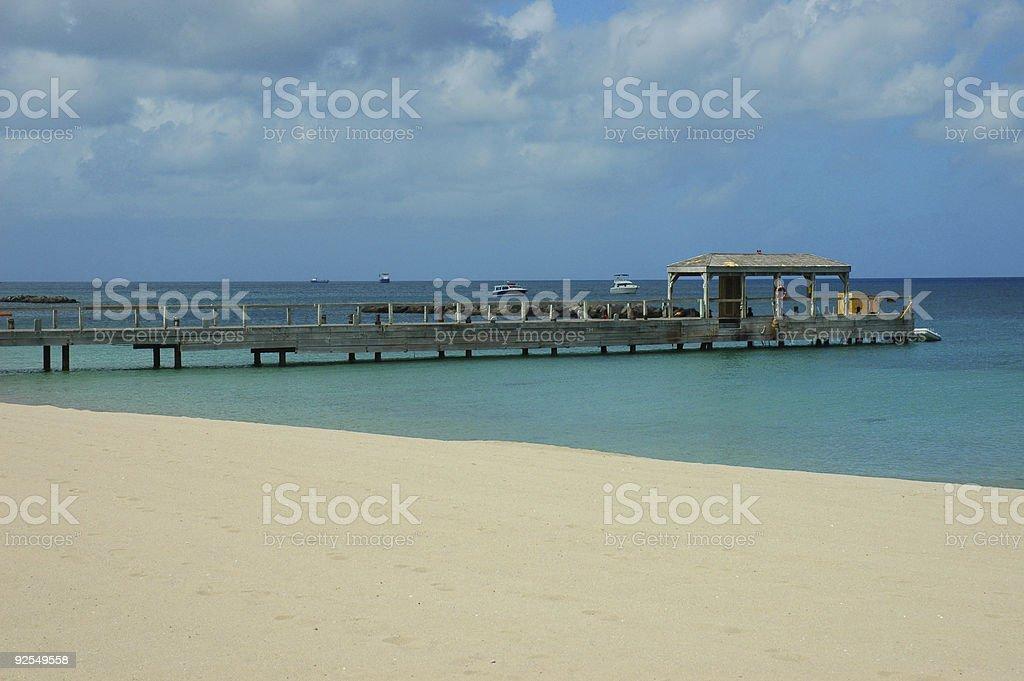 Pier in Caribbean stock photo