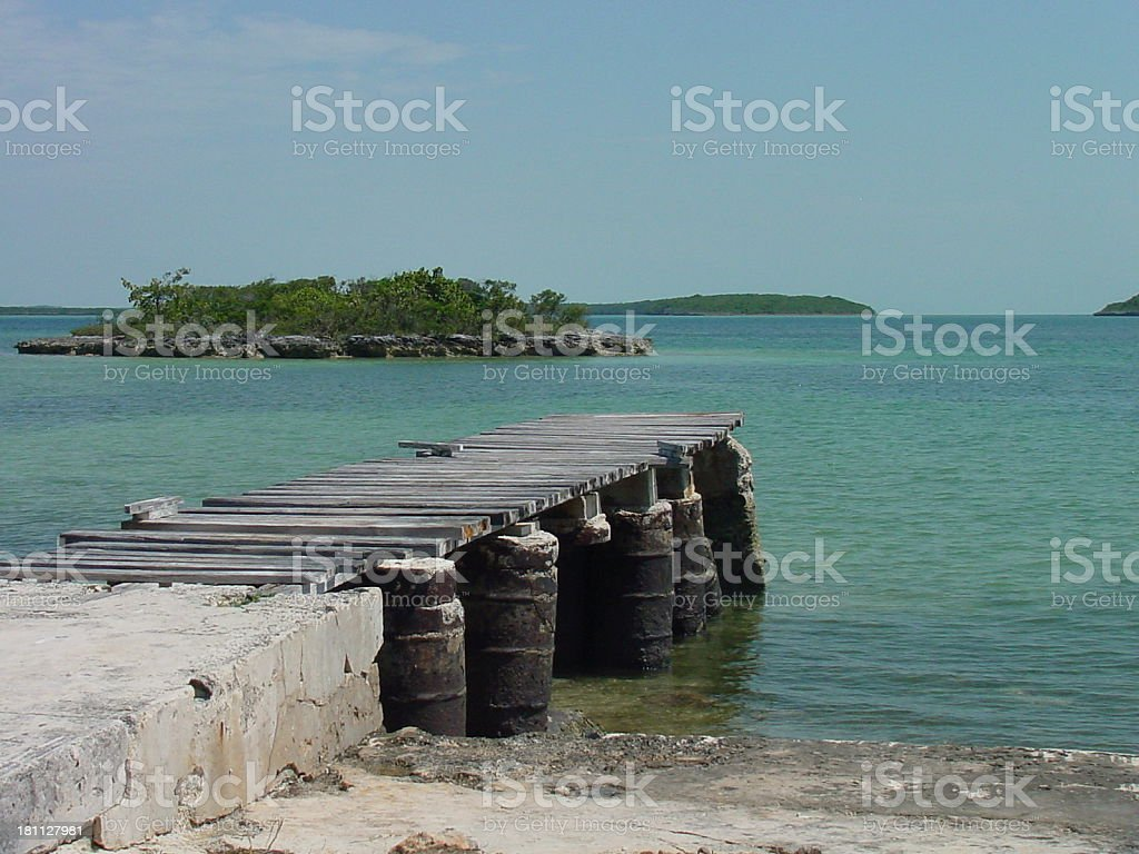 Pier in Carribean Bay royalty-free stock photo