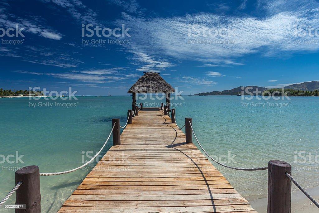 Pier in Fiji stock photo