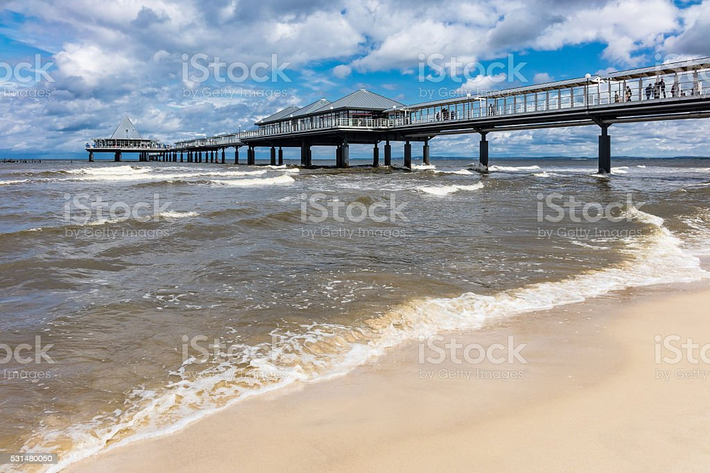 Pier in Heringsdorf on the island Usedom stock photo