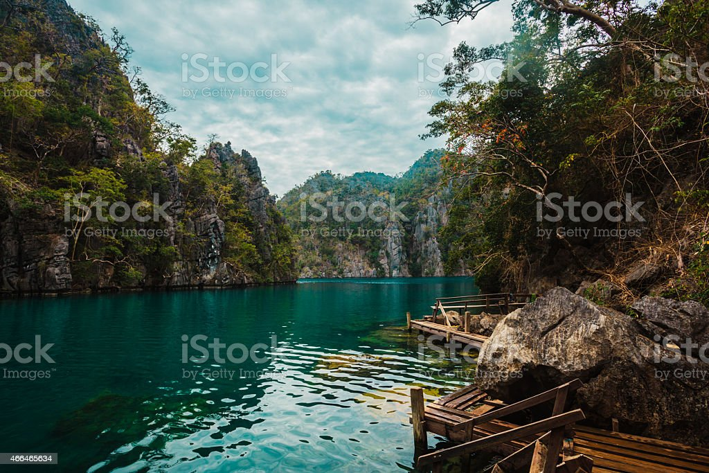 Pier in Lake Kayangan, Philippines stock photo