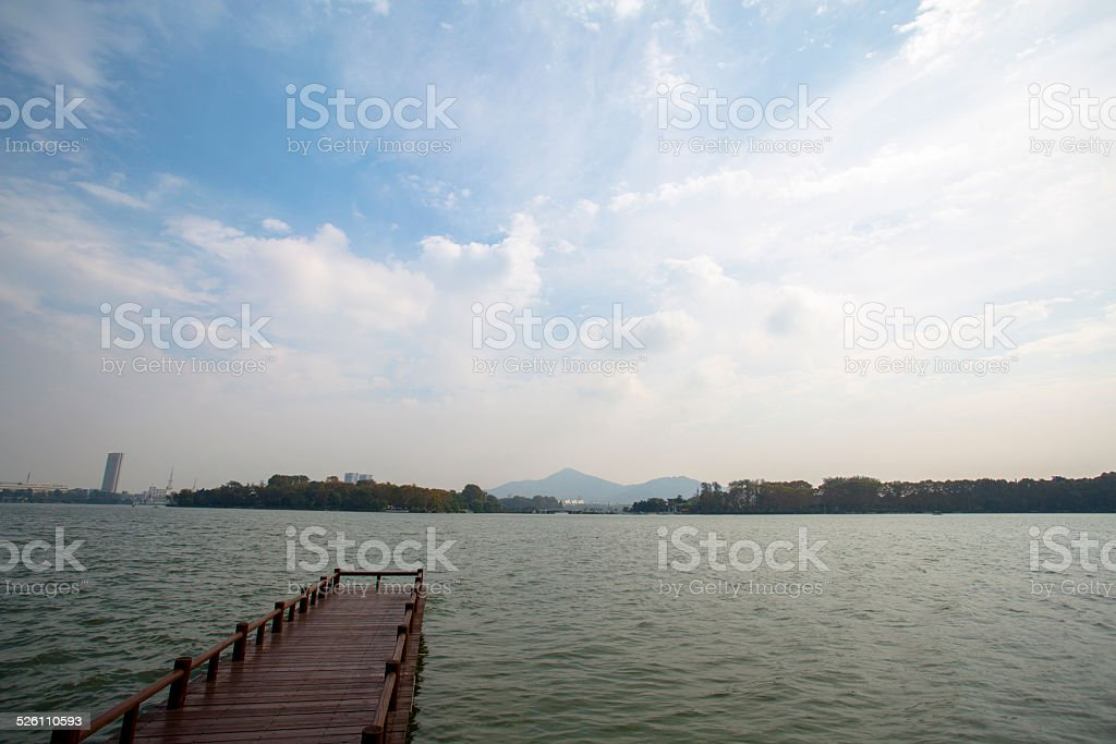 pier in lake stock photo