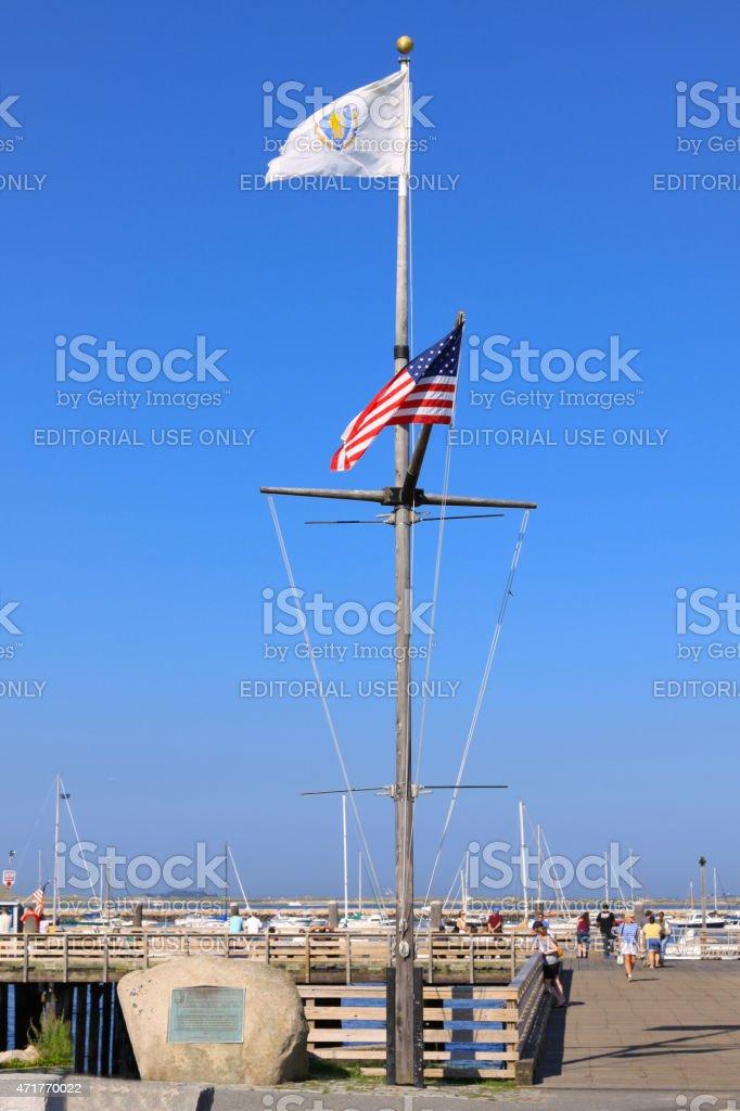 Pier in Pilgrim Memorial State Park. Plymouth, Massachusetts, USA. stock photo